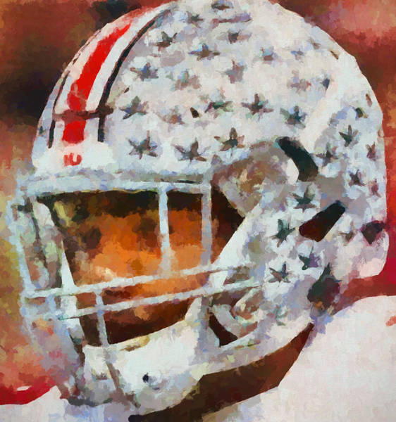 Wall Art - Painting - Ohio State Football Helmet by Dan Sproul