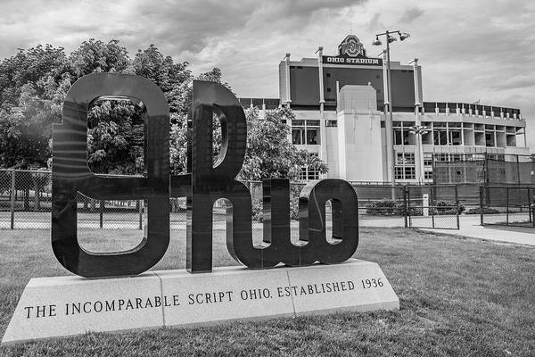 Wall Art - Photograph - Ohio State University Black And White Sign by John McGraw