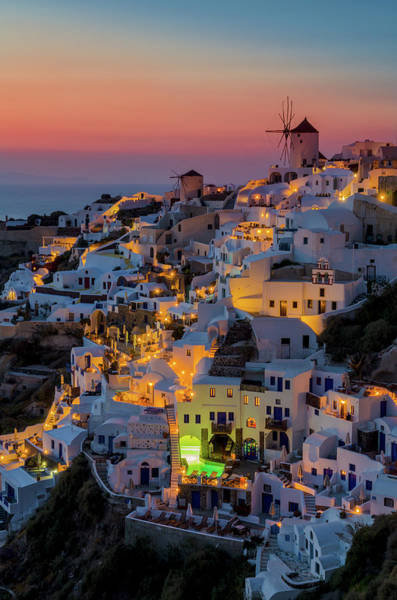 Townscape Photograph - Oia Colorfull Night by George Papapostolou Photographer