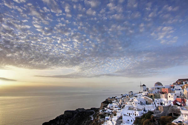 Wall Art - Photograph - Oia Sunset With Clouds by Sandra Kreuzinger