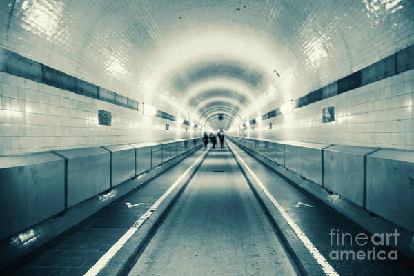 Photograph - Old Elbtunnelin Hamburg Monochrome by Marina Usmanskaya