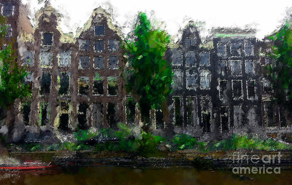 Holland Digital Art - Oil Paint Effected Amsterdam Houses by Trentemoller