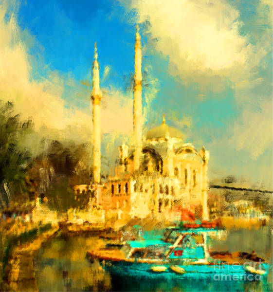 Wall Art - Digital Art - Oil Paint Istanbul View Bosphorus by Trentemoller