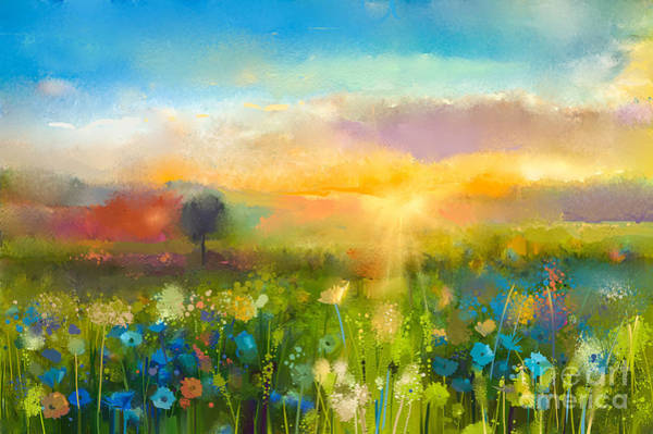 Wall Art - Digital Art - Oil Painting  Flowers Dandelion by Pluie r
