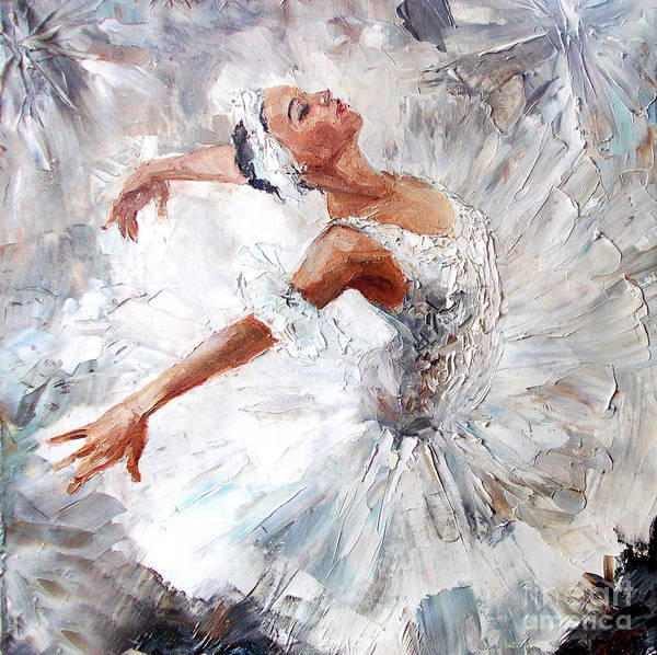 Standing Wall Art - Digital Art - Oil Painting, Girl Ballerina. Drawn by Maria Bo