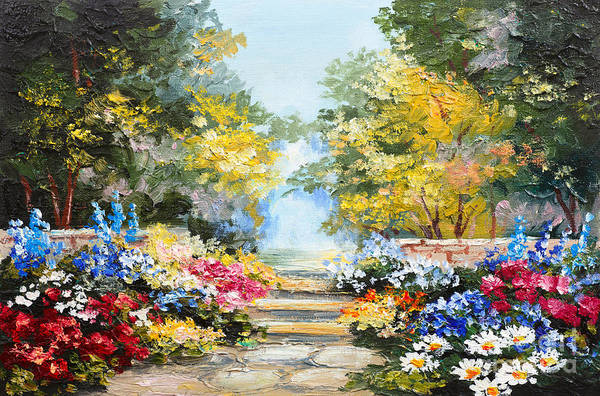 Color Image Digital Art - Oil Painting Landscape - Colorful by Fresh Stock