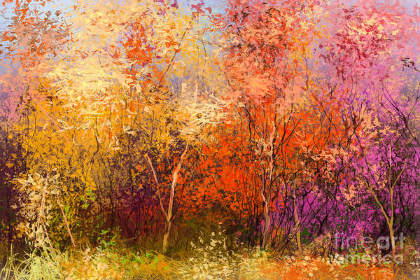 Wall Art - Digital Art - Oil Painting Landscape - Colorful by Pluie r