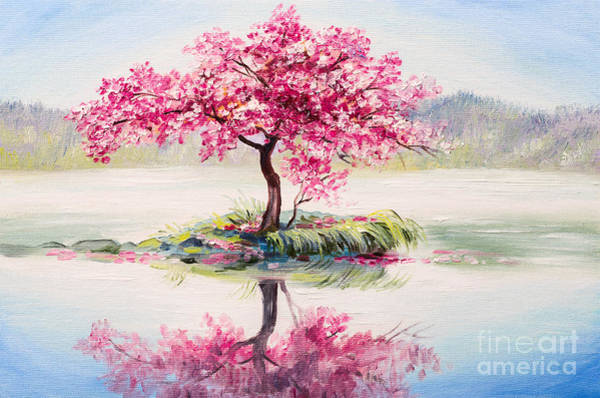 Peach Flower Wall Art - Digital Art - Oil Painting Landscape, Oriental Cherry by Fresh Stock