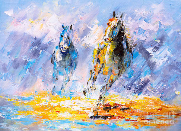 Wall Art - Digital Art - Oil Painting - Running Horse by Cyc
