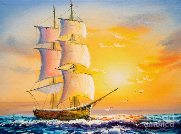 Wall Art - Digital Art - Oil Painting - Sailing Boat by Cyc