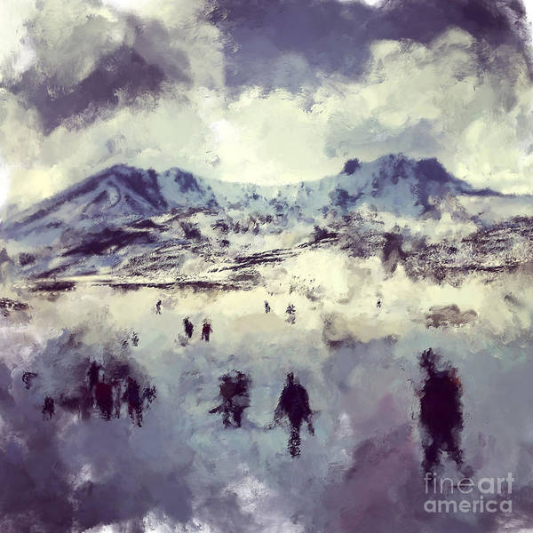 Wall Art - Digital Art - Oil Painting Snowy Mountains by Trentemoller