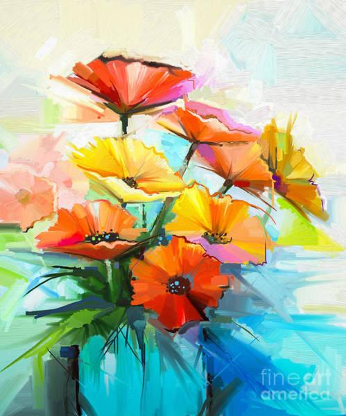 Wall Art - Digital Art - Oil Painting Spring Flower Background by Pluie r