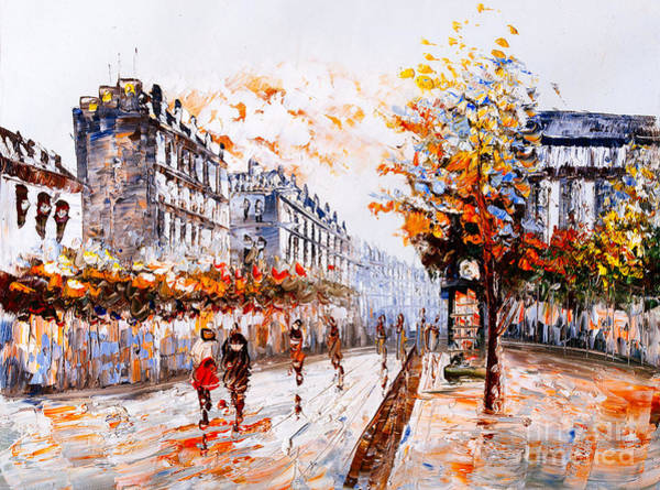 Oil Painting - Street View Of Paris Art Print