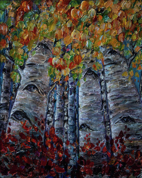Photograph - Oil Painting With Palette Knife Original Aspen Trees By Olena Art by OLena Art - Lena Owens