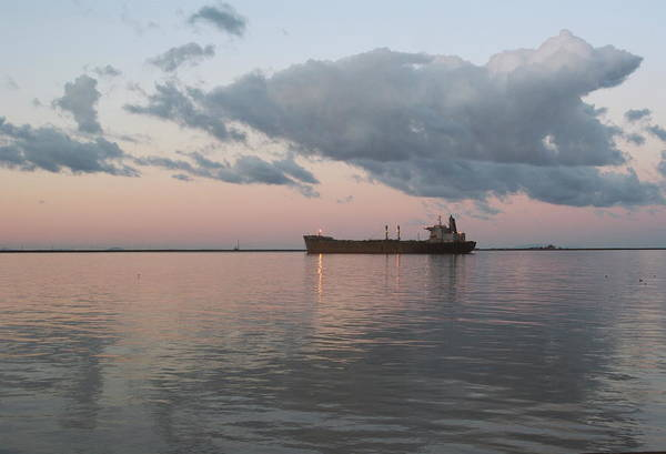 Photograph - Oil Tanker Sitting At Sunset by Davelogan