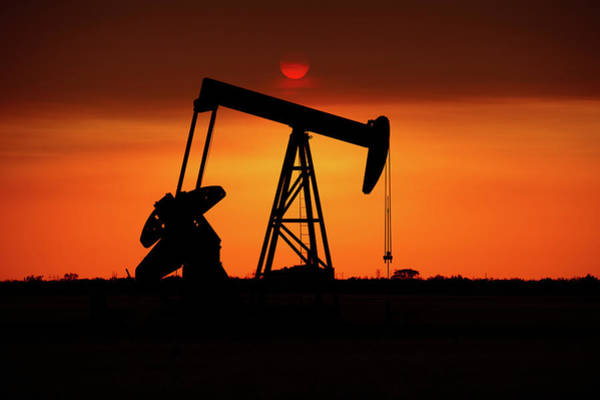 Pump Photograph - Oil Well In West Texas At Sunset by Brandonj74