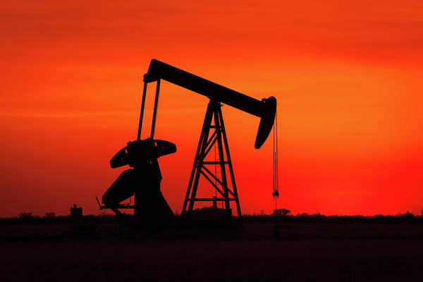 Pump Photograph - Oil Well In West Texas During Sunset by Brandonj74