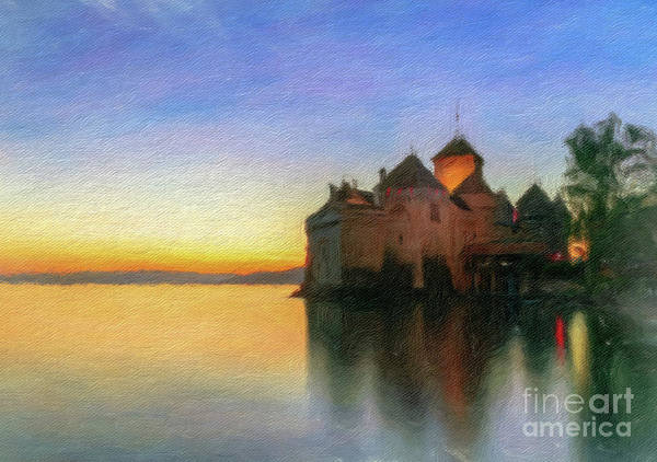Schloss Wall Art - Photograph - Chillon Sunset In Oil by DiFigiano Photography