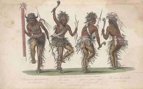 Indigenous People Digital Art - Ojibwa War Dance by Rischgitz