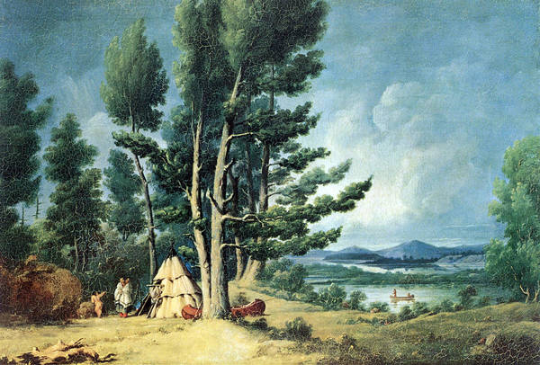 Painting - Ojibwe Indian Encampment, Spider Islands by Science Source