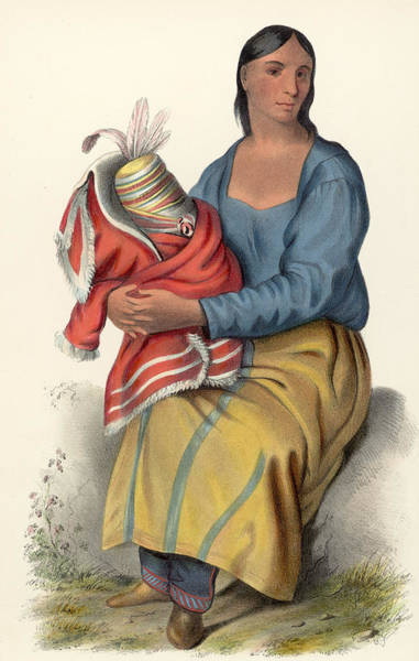 Pencil Drawing Photograph - Ojibwe Woman by Hulton Archive