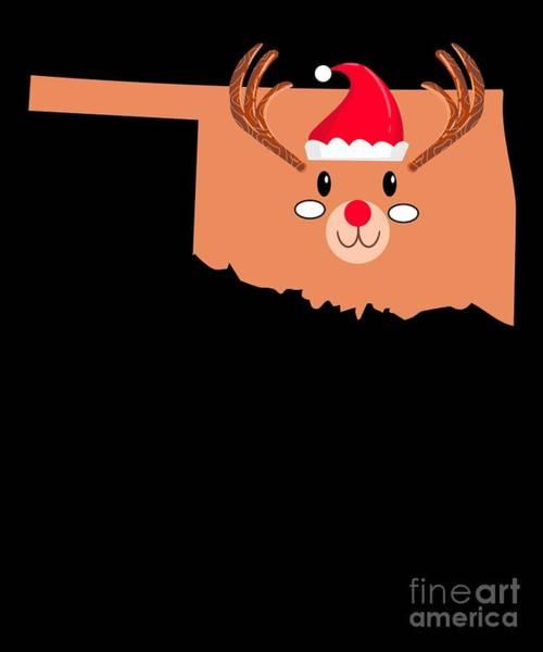 Ugly Digital Art - Oklahoma Christmas Hat Antler Red Nose Reindeer by TeeQueen2603