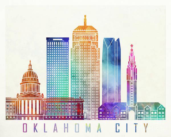 Wall Art - Painting - Oklahoma City Landmarks Watercolor Poster by Pablo Romero
