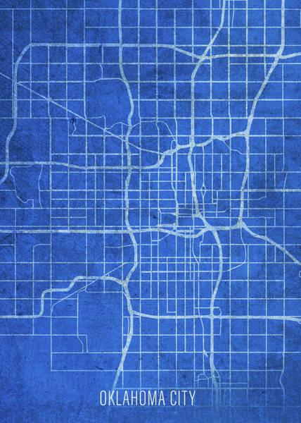Wall Art - Mixed Media - Oklahoma City Oklahoma City Street Map Blueprints by Design Turnpike