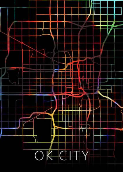 Wall Art - Mixed Media - Oklahoma City Watercolor Street Map Dark Mode by Design Turnpike
