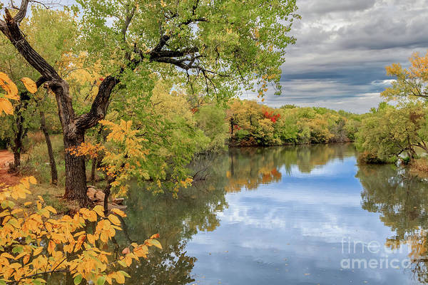 Photograph - Oklahoma City's Lake Hefner Surrounded By Trees In Fall Color by Richard Smith