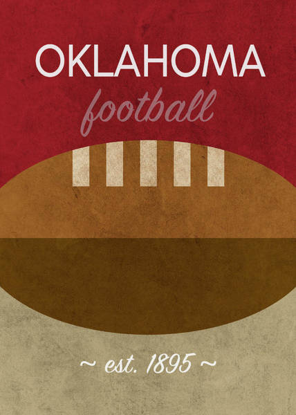 Wall Art - Mixed Media - Oklahoma Football Minimalist Retro Sports Poster Series 012 by Design Turnpike