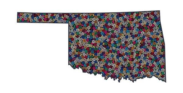 Ok Wall Art - Painting - Oklahoma Map - 1 by Nikita
