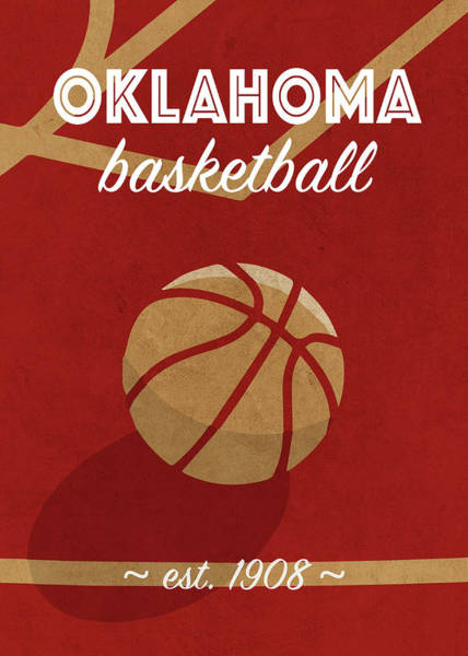 Wall Art - Mixed Media - Oklahoma University Retro College Basketball Team Poster by Design Turnpike