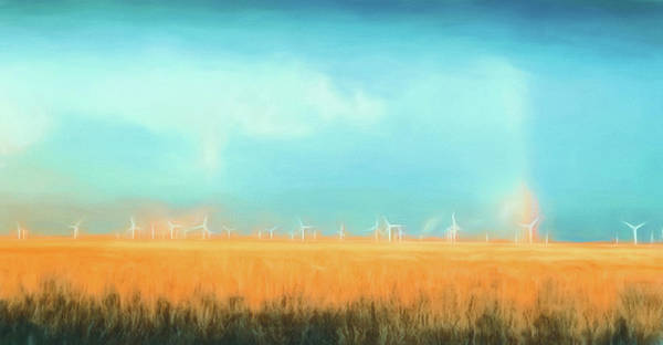 Digital Art - Oklahoma Windmills by Jason Fink