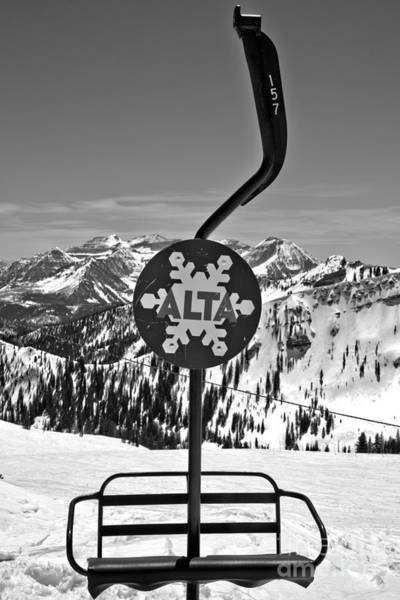 Wall Art - Photograph - Old Alta Lift Chair Black And White by Adam Jewell