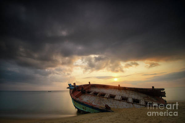 Wall Art - Photograph - Old And Broken Wooden Boat On Sandy by Yusri Salleh