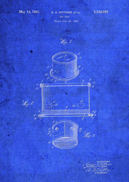 Ant Mixed Media - Old Ant Trap Vintage Patent Blueprint by Design Turnpike