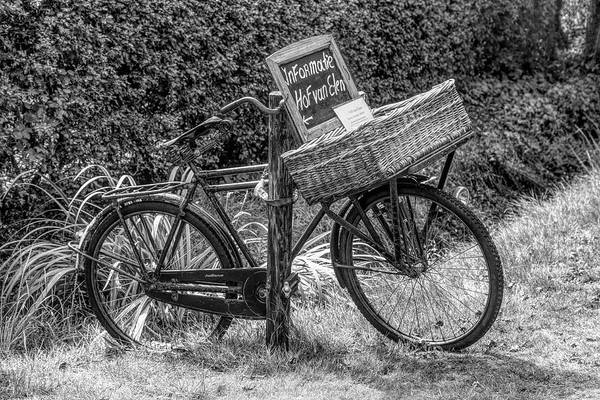 Photograph - Old Antique Bicycle In Black And White by Debra and Dave Vanderlaan