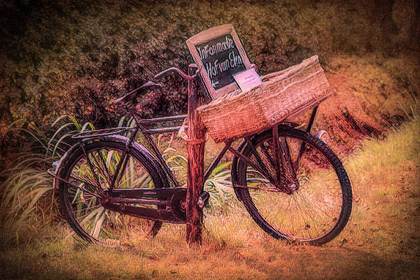 Photograph - Old Antique Bicycle In Sepia Tones Painting by Debra and Dave Vanderlaan