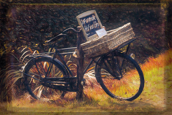 Photograph - Old Antique Bicycle Oil Painting by Debra and Dave Vanderlaan