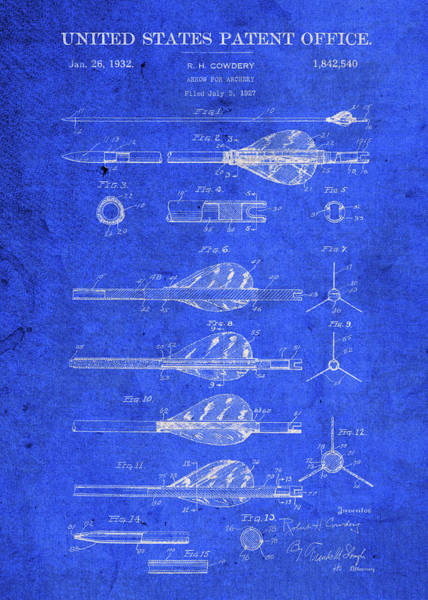 Archery Wall Art - Mixed Media - Old Arrow Vintage Patent Blueprint by Design Turnpike