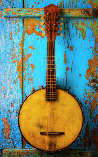 Bluegrass Photograph - Old Banjo On Blue Wall by Garry Gay