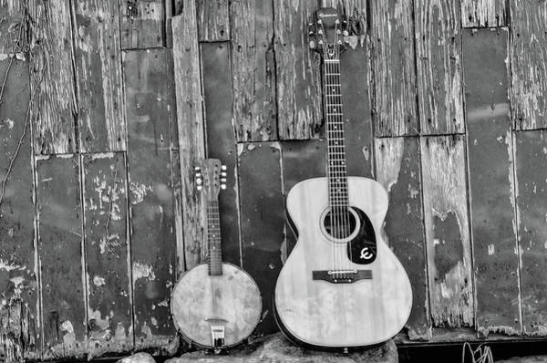 Photograph - Old Barn - Guitar And Banjo In Black And White by Bill Cannon