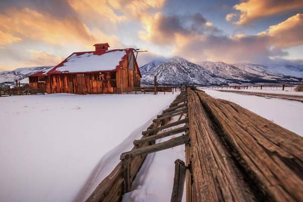 Lightroom Photograph - Old Barn In Sierra Sunset Light by Mike Herron