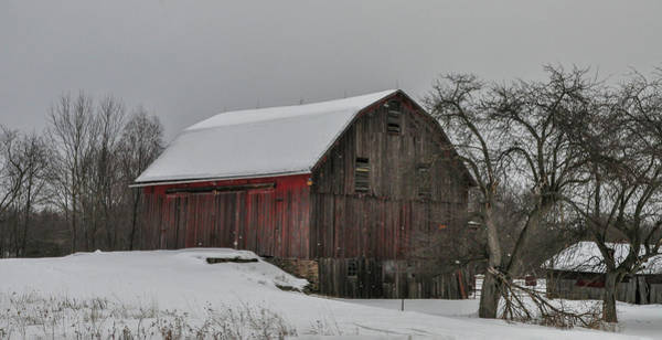 Photograph - Old Barn In The Snow by Bill Cannon