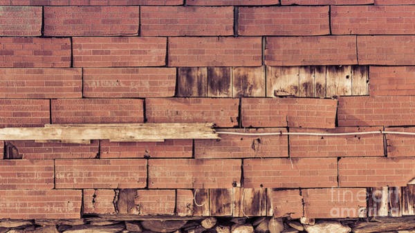 Wall Art - Photograph - Old Barn Wall Of Fake Brick Shingles by Edward Fielding