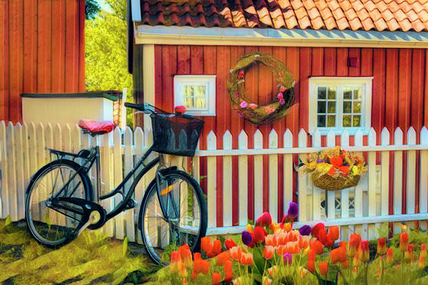 Photograph - Old Bicycle In The Garden In Watercolors by Debra and Dave Vanderlaan