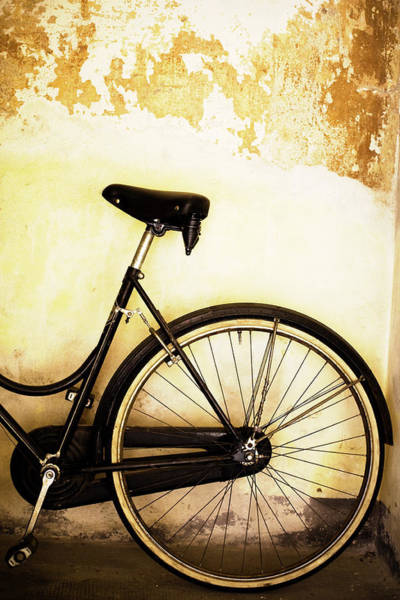 Photograph - Old Black Bicycle Wall Peeling, Vertical by Deimagine