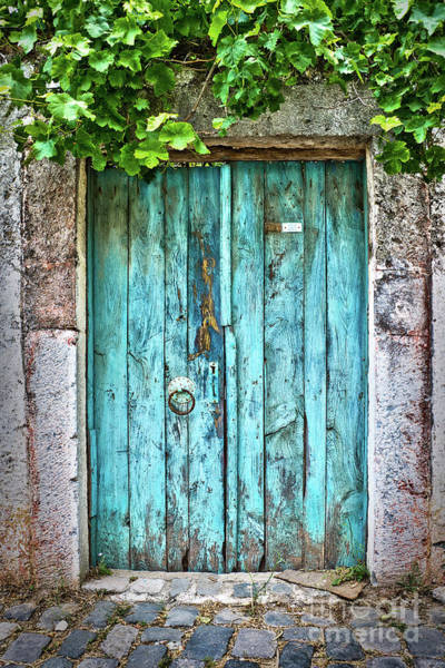 Wood Planks Photograph - Old Blue Door by Delphimages Photo Creations