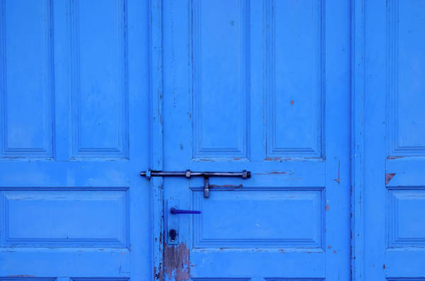 Handle Photograph - Old Blue Door With Metal Bolt by Vmarin